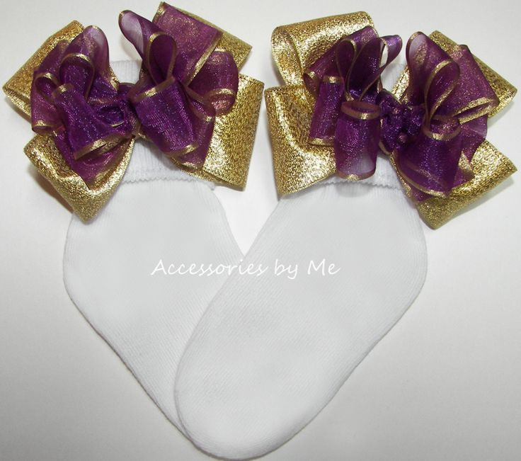Plum Gold Organza Metallic Bow Socks