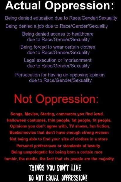 Freedom of speech goes both ways. Someone saying something you don't like is not oppression. If it were conservative women everywhere would be oppressed by feminists.
