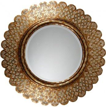 """36"""" gold basket weave mirror"""