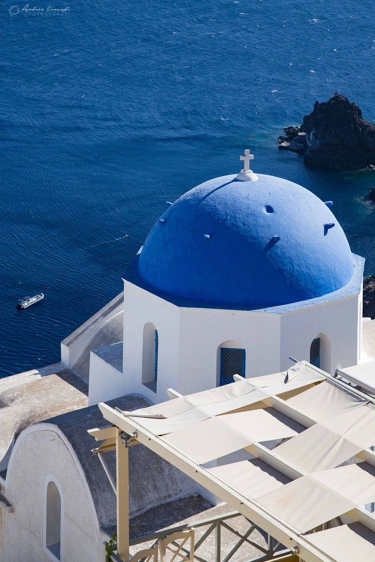 Blue dome in Oia, Santorini, Greece