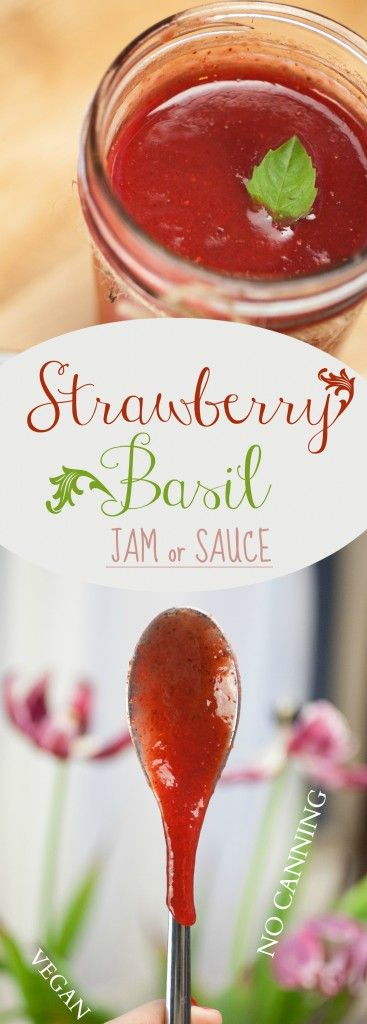 Strawberry Basil Jam or Sauce | Produce On Parade - If you're try to impress someone or just up your jam game, this is the one for you. It's a delicious, no-canning necessary strawberry jam infused with fresh basil, vanilla and cinnamon. I couldn't stop licking the spoon.