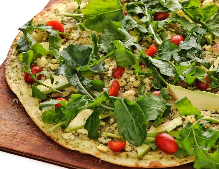 Verdi pizza - pesto, feta, walnuts, avo, rocket & cherry tomatoes (no mozzarella)