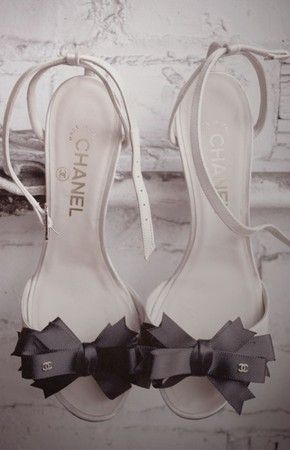 Chanel black ribbon heels.