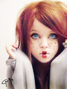 Perhaps a redhead with freckles? :)