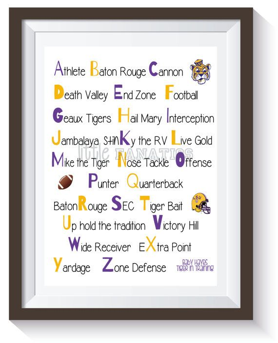 Louisiana State University - LSU Tigers Alphabet Nursery Art Print. Teach the alphabet the RIGHT way! Great for a baby's room, playroom decor, child's bedroom or baby shower gift.
