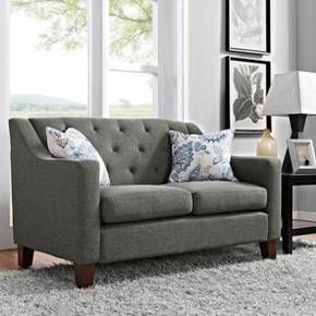 Create a comfortable space for you and your family to relax in with the Felton Tufted Loveseat from Threshold™. With clean, modern lines and elegant tufting, this loveseat sofa comes upholstered in various neutral fabric options so it can easily be mixed and matched with bold colors and patterns. It's crafted from high-quality, durable wood and then filled with foam in the cushions to ensure comfort as you curl up and read a book, watch TV or enjoy conversations with guests.