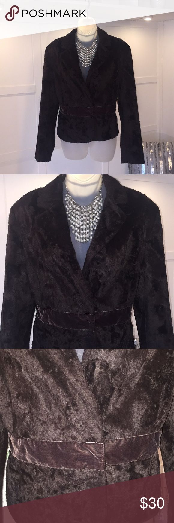 NINE WEST Brown Fur Jacket Velvet Band Detail NINE WEST Brown Fur Short Jacket. 2 snap closure, Velvet band detail at waist. Fully lined, Excellent Condition! Nine West Jackets & Coats Blazers