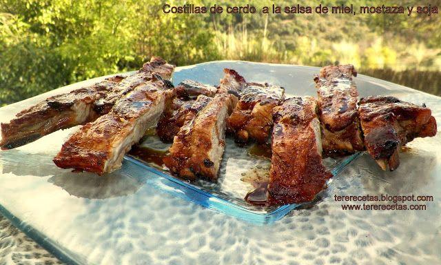 Costillas de cerdo con salsa de miel, mostaza y soja. - Las recetas de Tere