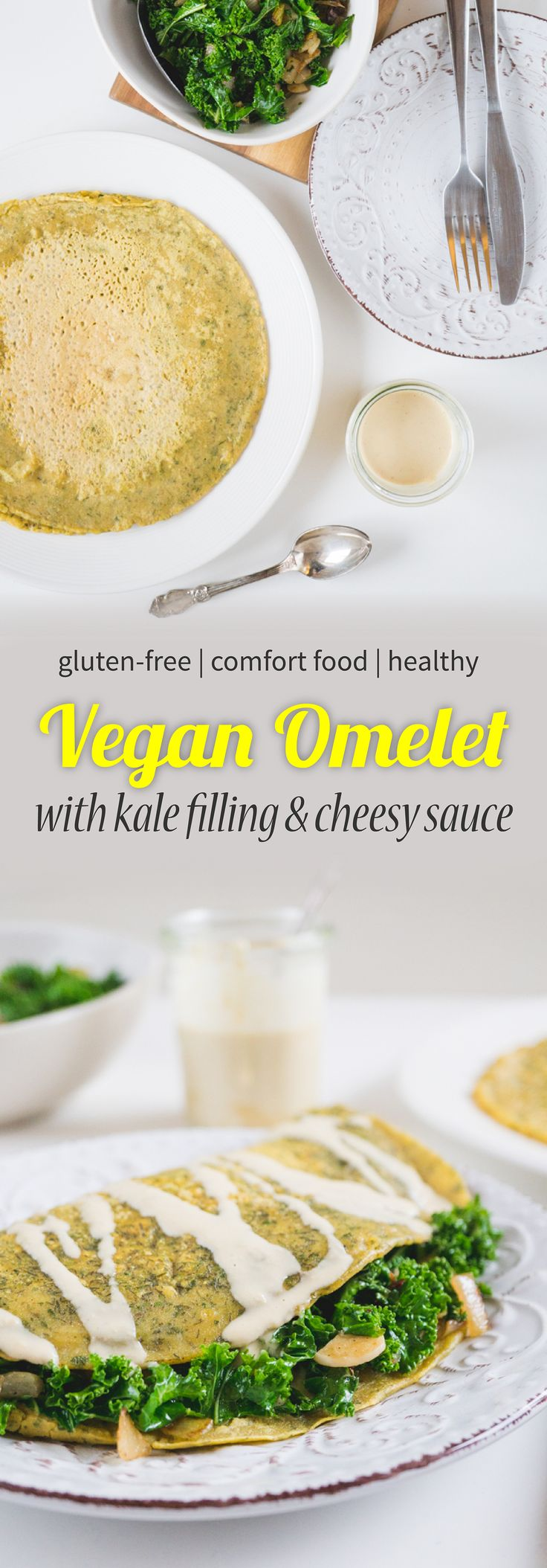 Vegan omelet with kale filling and cheesy tahini sauce.