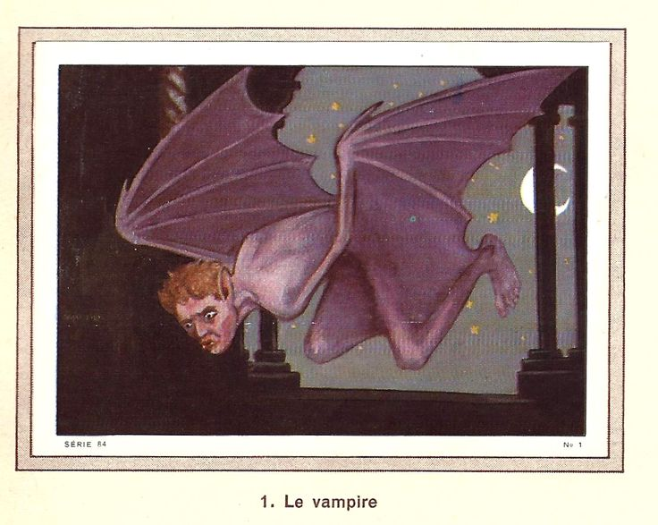 The Vampire - From the picture stamp album, Wonders of the World, Volume 4. Produced by Nestlé and Kohler, 1957-1958. The stickers were presented in Swiss chocolate bars and products from Nestlé,...