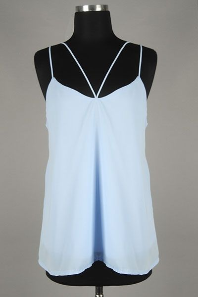 *** New Style *** Sheer Drop Waist Chiffon Tank Blouse with Double Straps Featuring V Accent at the Neckline.