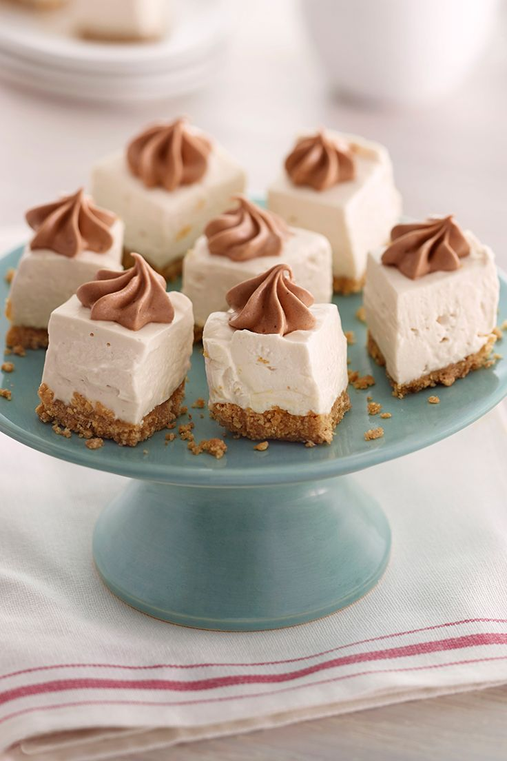 No-Bake Salted Caramel Cheesecake Bites | Safeway - Lucerne ingredients make an indulgent Caramel Cheesecake that's easy to make and doesn't need to be baked! Graham cracker crumbs, brown sugar and butter make a crust that sets the stage.  The small portions make it great to serve at parties!