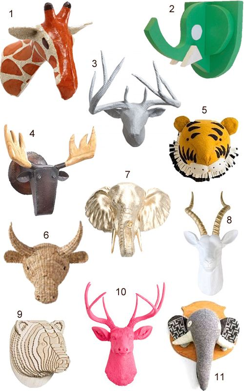Faux Animal Heads Trophy Mounts Taxidermy Wall Decor Stylecarrot