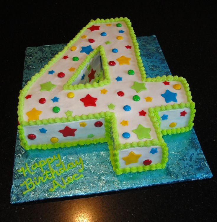 Number 4 Birthday Cake
