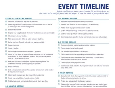 Planning An Event - Timeline - Bravo! Event Event Data Pinterest