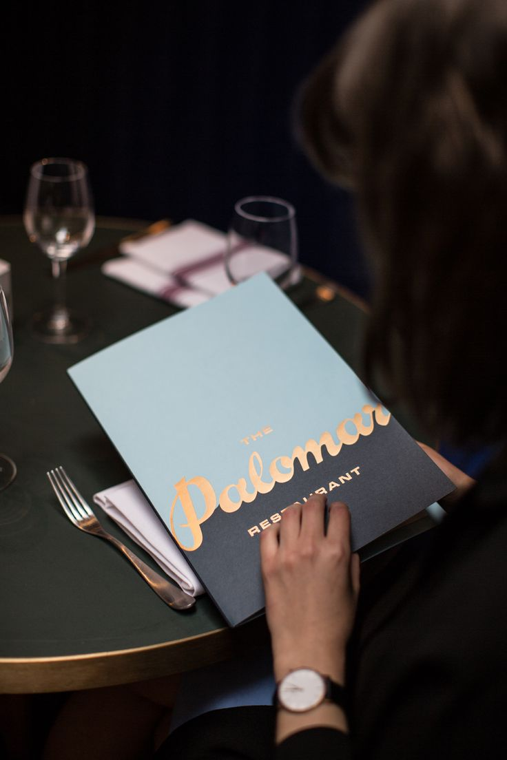 Menu with gold foil detail designed by Here for Soho restaurant The Palomar