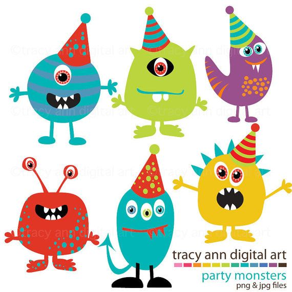 Monster Party Clipart by TracyAnnDigitalArt on Etsy
