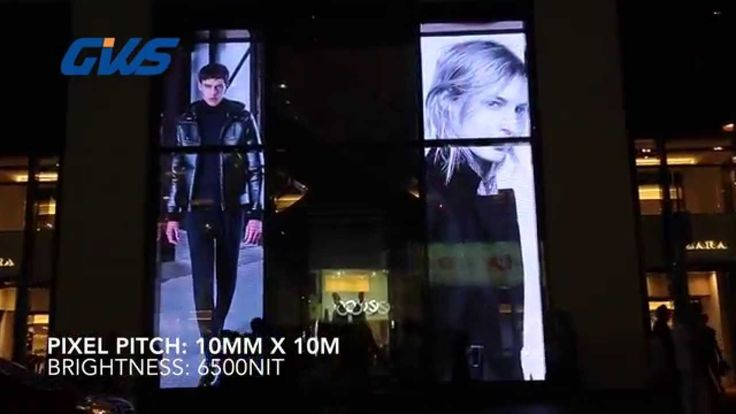 Tranparent LED display for Zara window display