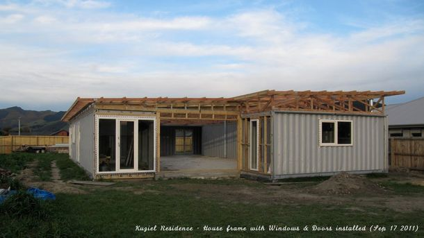 3x 40ft, 1x 20ft Shipping Container Home, - Kuziel Residence - Tai Tapu, New Zealand,    Designed and built by owner Marek Kuziel, a very go...