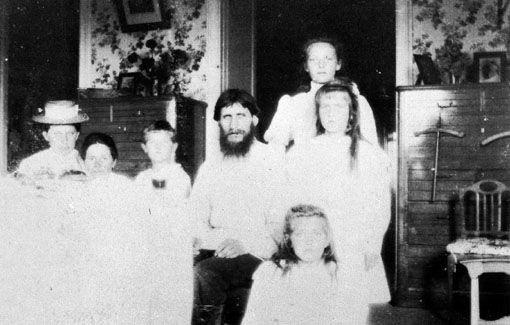 The Empress and children with Rasputin