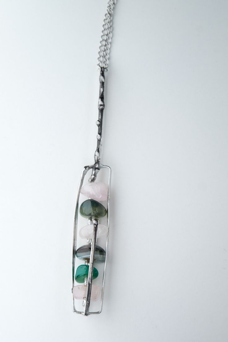 3D tinned jewel - necklace with gemstones