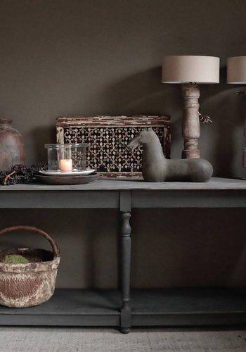 Houten hand geschilderde Sidetable/muurtafel in de kleur zwart
