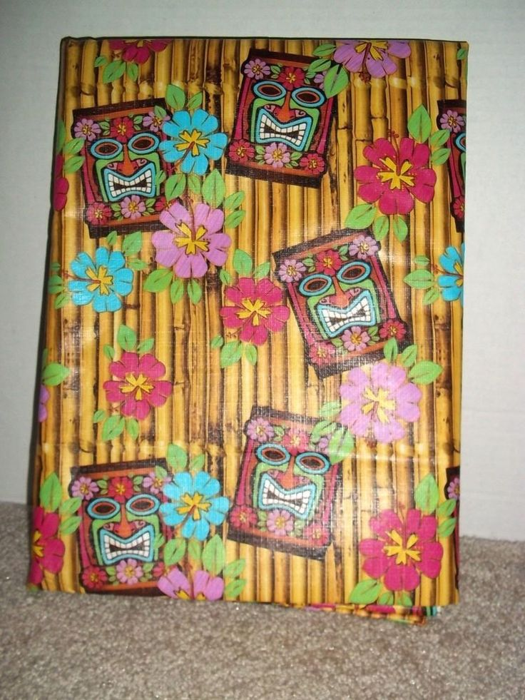 """Tiki Hawaiian Mask Flannel-Backed Vinyl Table Cover 60"""" Round New Package Opened #Unbranded"""