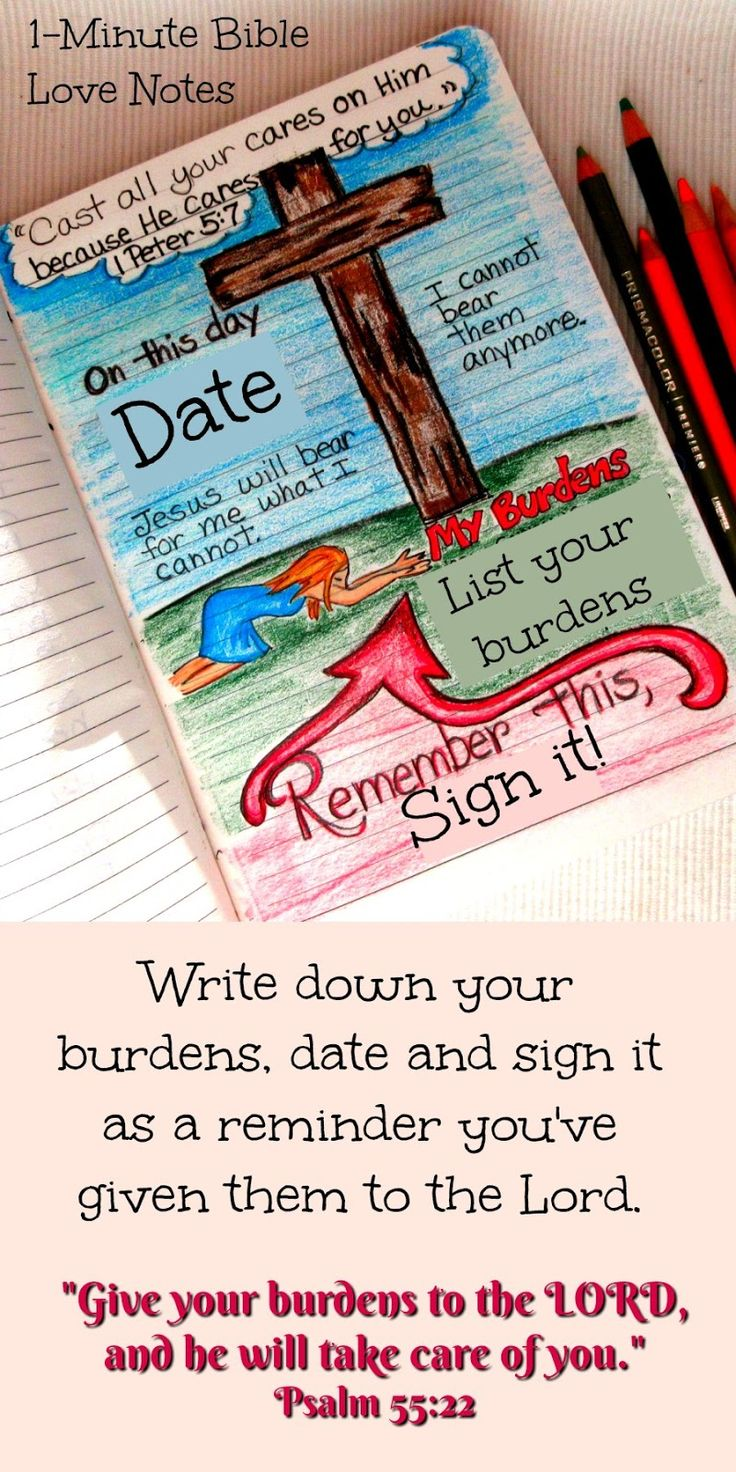 A practical way to make a journal entry and Give Your Burdens to the Lord - Psalm 55:22, 1 Peter 5:7. What a wonderful invitation - to give our burdens to the Lord and leave them at the cross.