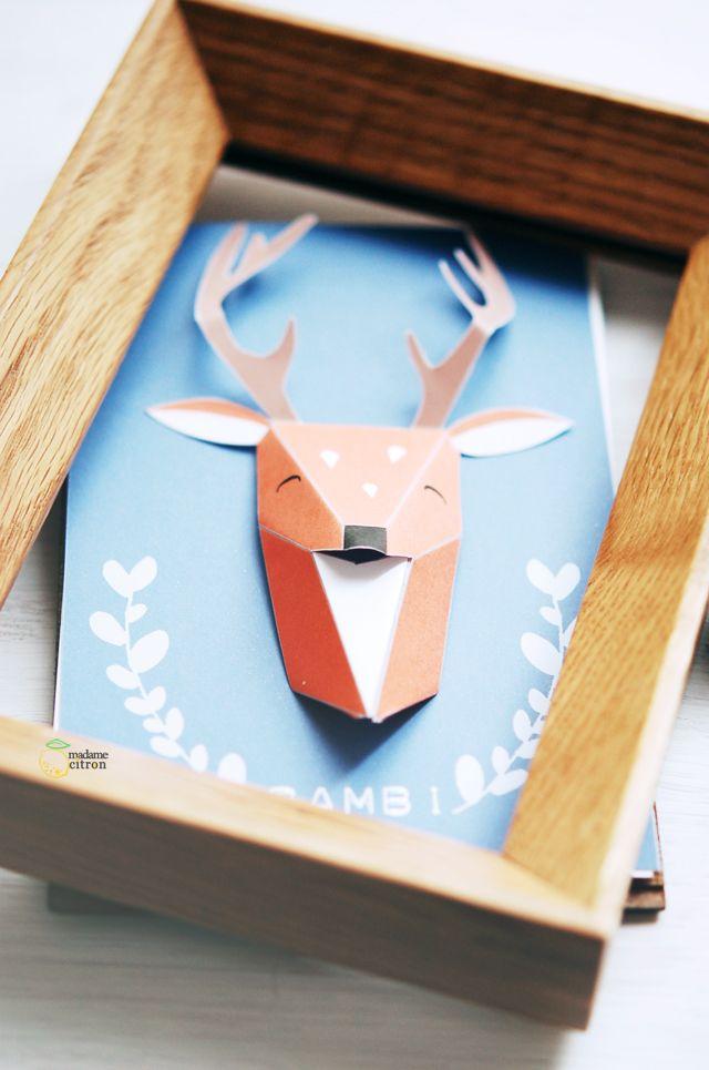 DIY Tutoriel trophée animaux en origami | Madame Citron - Blog de créations et DIY