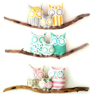 (order for Shawn) and Baby Makes Two--Owls on Driftwood Wall Art** by birdynumnumDesign