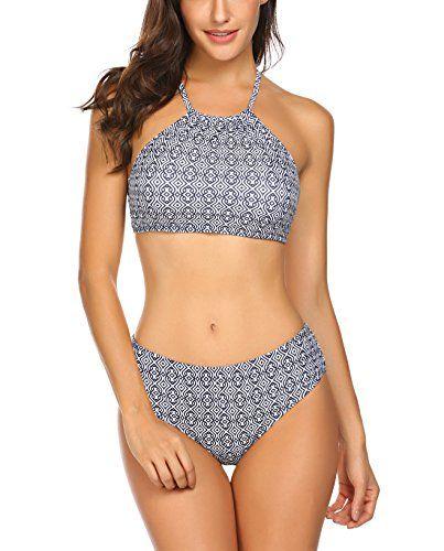 bb5c3ac69bca0b Damen Split Badeanzüge Blumendruck Streifen Bikini Neckholder Bademode Push  up Swimsuit Zweiteilige Schwimmanzug für Sommer Farbe
