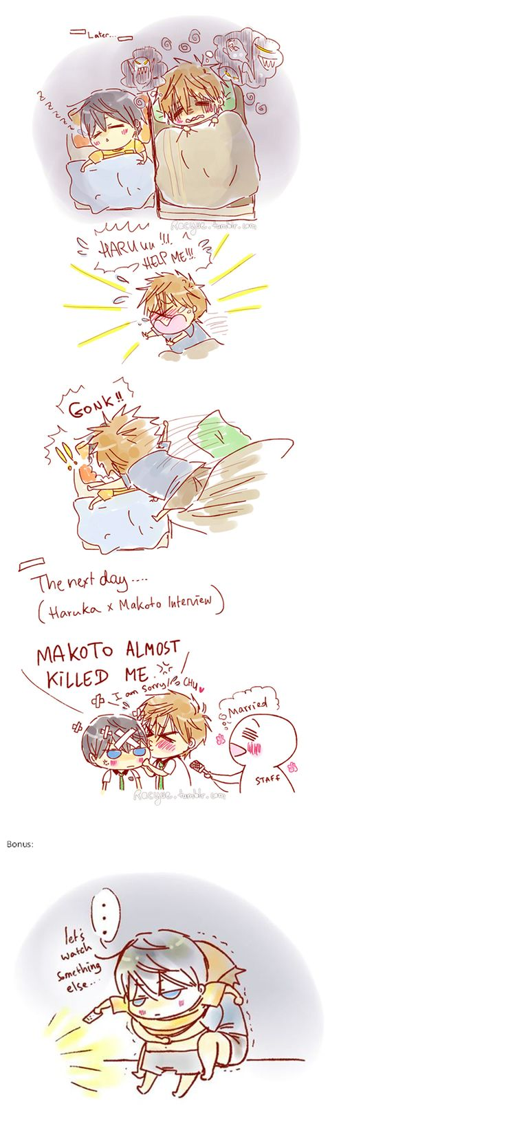 Based on a given interview in which we learn Haru fell already asleep before the show started and the show scared Makoto shitless. Things do happen then ... part 2 ... Drawn by racyue ... Free! - Iwatobi Swim Club, haruka nanase, haru nanase, haru, free!, iwatobi, makoto tachibana, makoto, tachibana, nanase