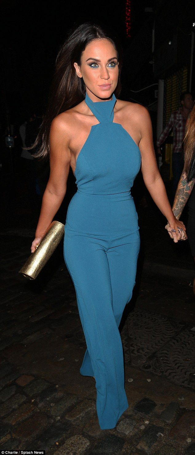 Blue black dress daily mail - Vicky Pattison Goes Braless On Her Birthday In Bright Blue Fitted Jumpsuit Daily Mail Online
