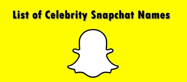 list of snpachat celebrity snapchat names