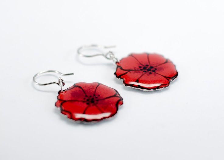 Colorful poppy earrings by #CinkyLinky