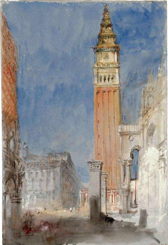 The Athenaeum - Venice, the Campanile of San Marco, with the Pilastri Acritani, from the Porta della Carta (Joseph Mallord William Turner - ...