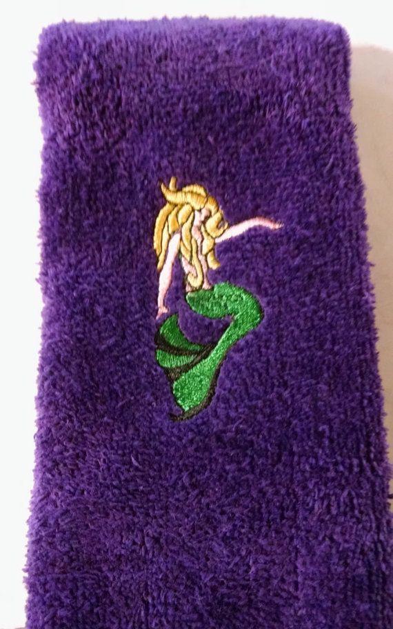 Embroidered Mermaid on Purple Tea Towel by cajunstitchery on Etsy