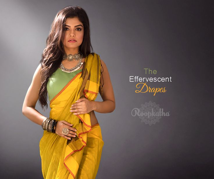 CANARY YELLOW BLENDED COTTON SAREE HL08700931