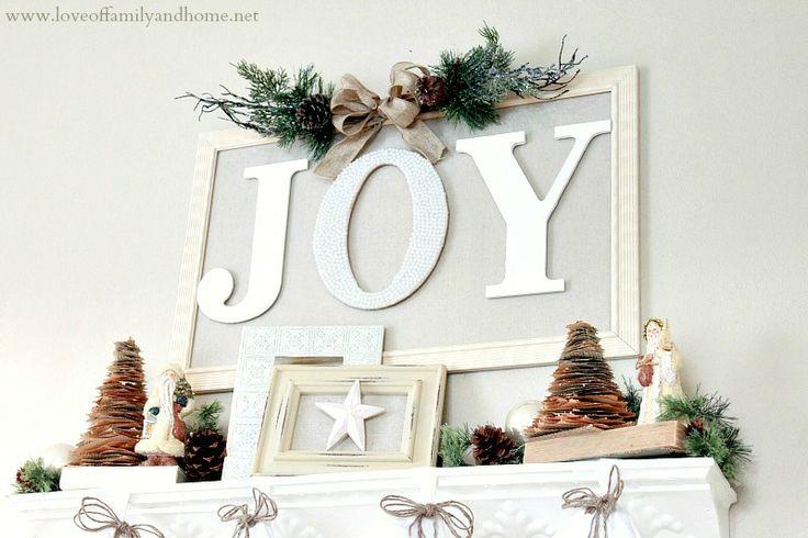 "Love Of Family & Home: ""JOY"" Christmas Mantel 2012"