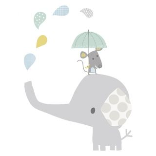 XL Wandtattoo 'Elefant & Maus' grau/pastell 75cm