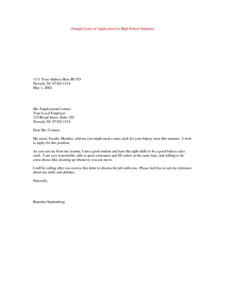 Sample Letter Application Simple Job Cover How Write Formal School