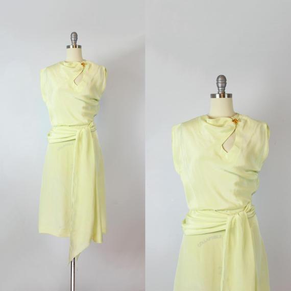 Vintage des années 40 de robe des années 1940 pâle robe taille ceinture jaune découper robe corsage / / Printemps robe / robe de Streamliner