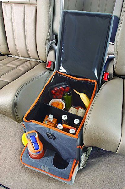 Make smaller (narrower) to fit on top of the current consol in the Lincoln, and then everyone could have access to more sotred items in car.  Make something like this with fabric, foam board, pillow filler, and stretchy material for pockets.    Add lots of cool pockets, snap on items, and snack holder/drink holder areas.  OR you can buy it. High Road Kids Car Seat Cooler and Back Seat Organizer with Snack & Play Tray: Automotive