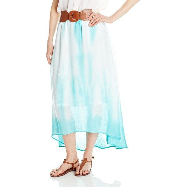 NY Collection Women's Tie Dye Hi Low Maxi Skirt with Crochet Belt ($13) ❤ liked on Polyvore featuring skirts, hi low skirt, blue high low skirt, high low maxi skirt, tie dye skirts and blue maxi skirt