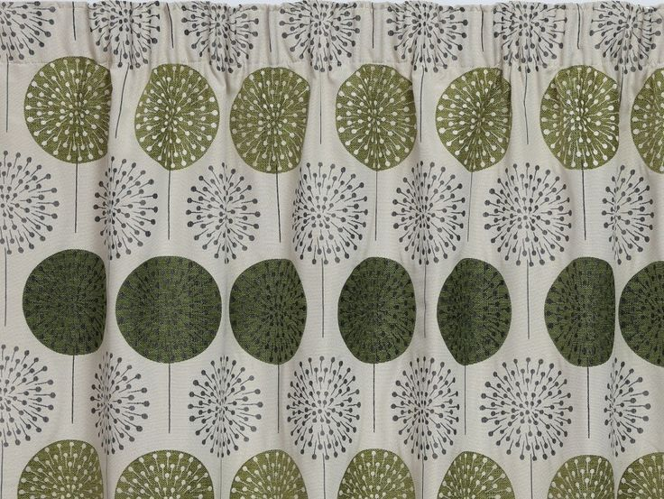 Peony Green Pencil Pleat Curtains