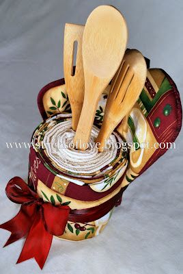 Kitchen Towel Cake perfect for a housewarming gift
