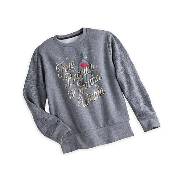 Beauty and the Beast Ladies' Grey Sweatshirt ($31) ❤ liked on Polyvore featuring tops, hoodies, sweatshirts, gold long sleeve top, shimmer tops, gold top, gold shimmer top and gold sweatshirt