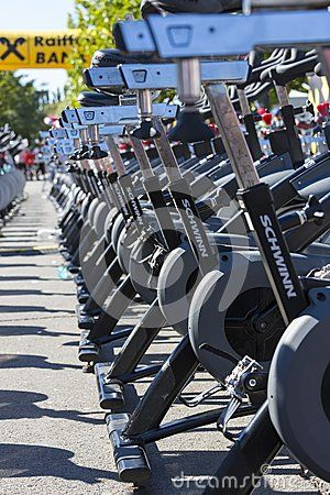 Over 200 aligned stationary spinning bikes during a public cycling event on September 15, 2013 in Bucharest, Romania.