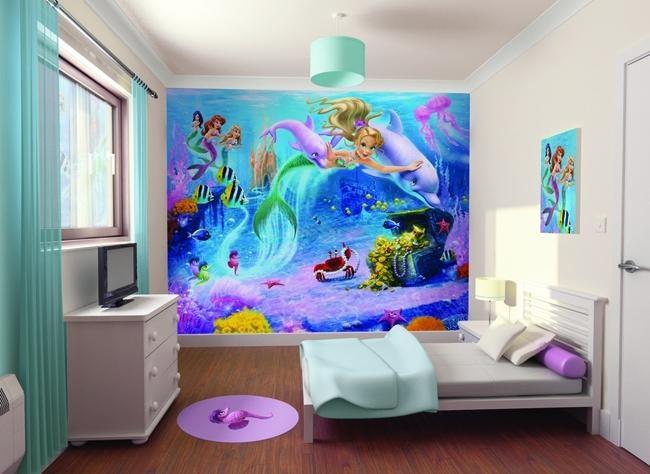 Beautiful Under Water Mermaids Mural, Available From WolfStock UK. Kids  MuralsWallpaper ...