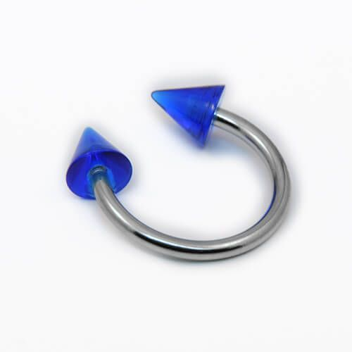 Surgical Steel Circular Barbell with Blue Acrylic Spikes - Pierce of Mind